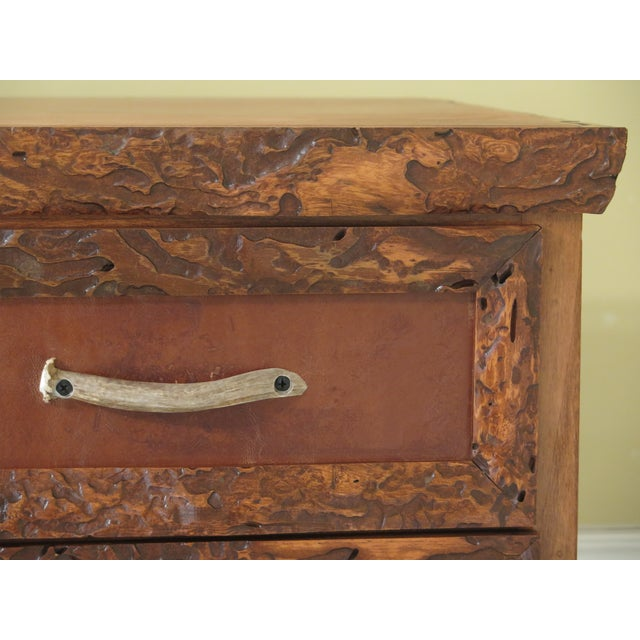 Leather 1990s Adirondack Style 6 Drawer High Chest For Sale - Image 7 of 12