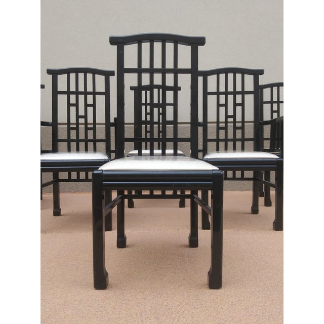 Mid-Century Modern Charles Rennie Mackintosh Style Black Lacquer Asian Flare Chinese Chippendale Fretwork - Set of 6 Dining Chairs For Sale - Image 3 of 13