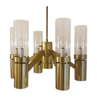 Brass 6 Arm Chandelier Attributed to Sciolari For Sale