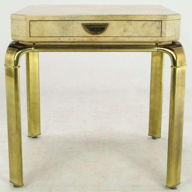 John Widdicomb John Widdicomb Cream Goatskin Side Table On Canted Brass Legs For Sale - Image 4 of 8