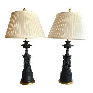 Vintage Black Plaster Figurative Chapman Table Lamps - A Pair