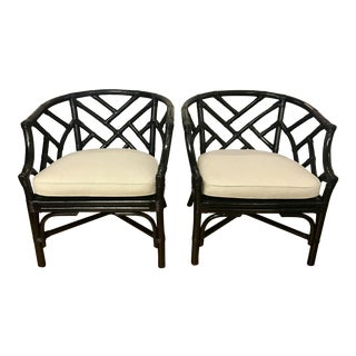 1960s Vintage Black Painted Bamboo Armchairs- A Pair For Sale