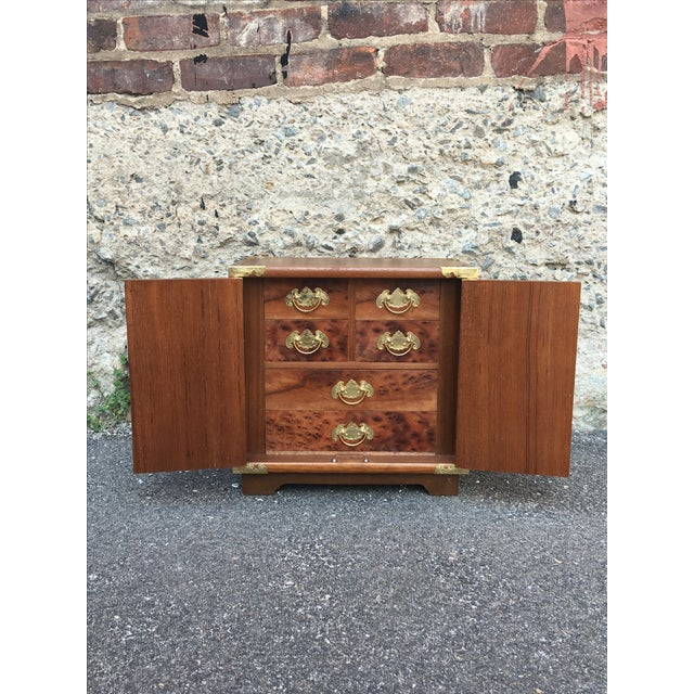 Vintage Chinoiserie Wood & Brass Jewelry Box - Image 5 of 6