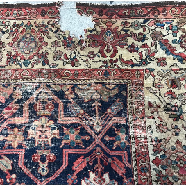 Vintage Design Decorative Blue Background Color Mahal Rug- 9′5″ × 13′5″ For Sale - Image 12 of 13