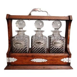 Antique English Liquor Tantalus Decanter Set, Lock & Key