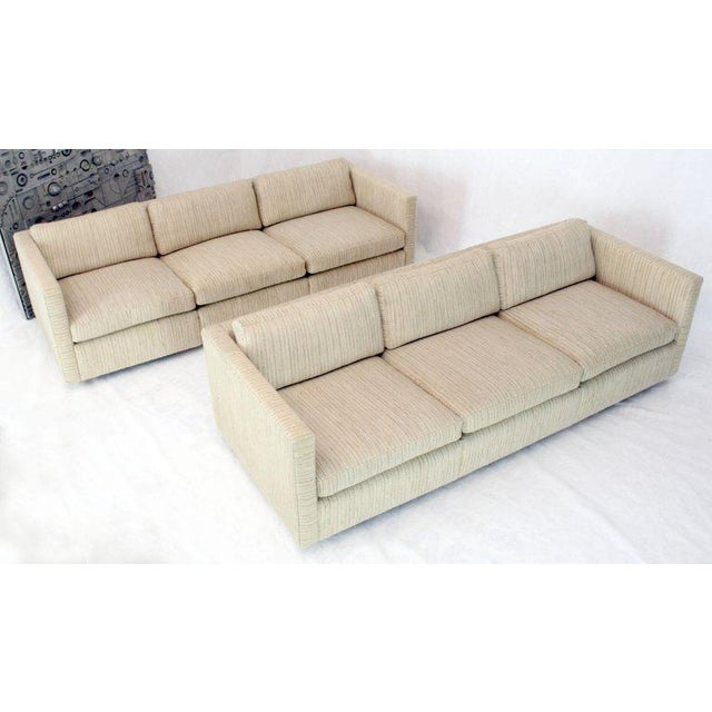 1970s Vintage Cream Wool Upholstery Box Shape Knoll Sofas Baughman Probber- a Pair For Sale - Image 13 of 13