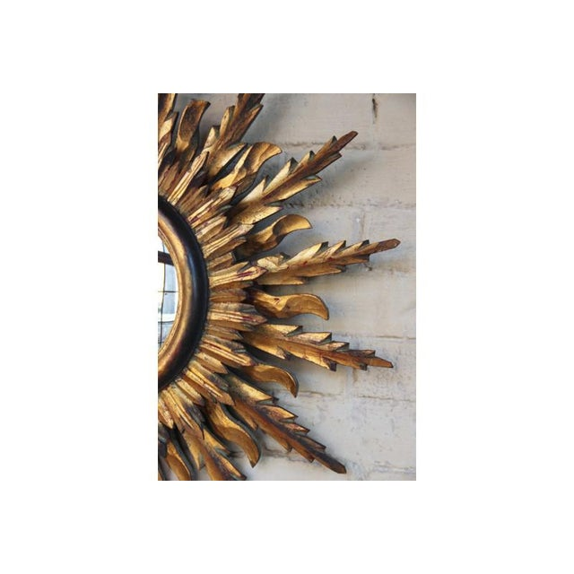 Midcentury French Double Layer Sunburst Mirror With Original Mirror Glass For Sale In Wichita - Image 6 of 10