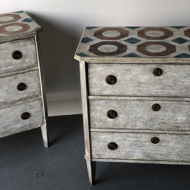 Mid-Century Modern Pair of Painted Swedish Floored Chests For Sale - Image 3 of 9