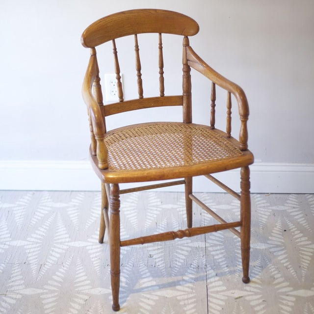English Traditional Cane Arm Chairs - a Pair For Sale - Image 3 of 4