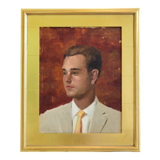 1950s Midcentury Young Gentleman Portrait Oil Painting W/ Gold Leaf Frame For Sale