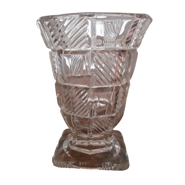 Art Deco Pressed Glass Vase For Sale