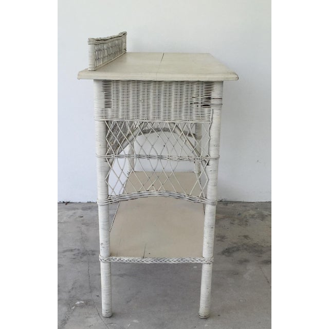 Antique White Wicker Console - Image 4 of 8