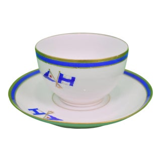 1930s Private Beverly Ma Yacht Club 'Burgee' (Left) X Private Signal (Right) Cup & Saucer Set Made in France For Sale