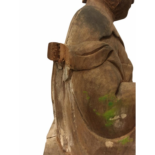 Asian Antique 1940s Raw Carved Wood Taiwanese Deity Statue For Sale - Image 3 of 13