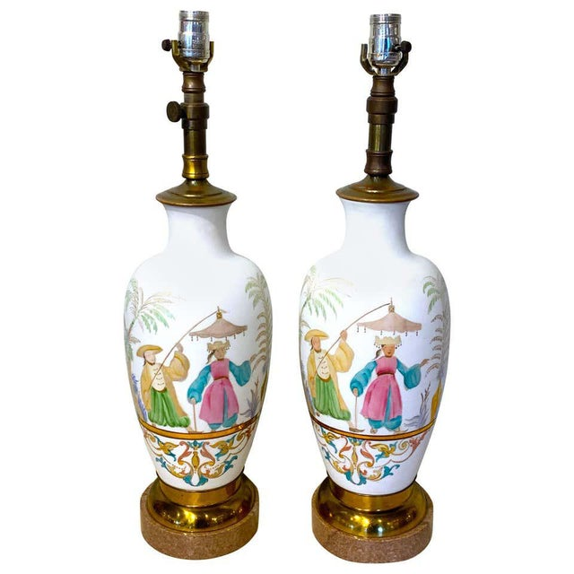 English Chinoiserie Bristol Opaline Glass Vases, Now as Lamps - a Pair For Sale - Image 9 of 9