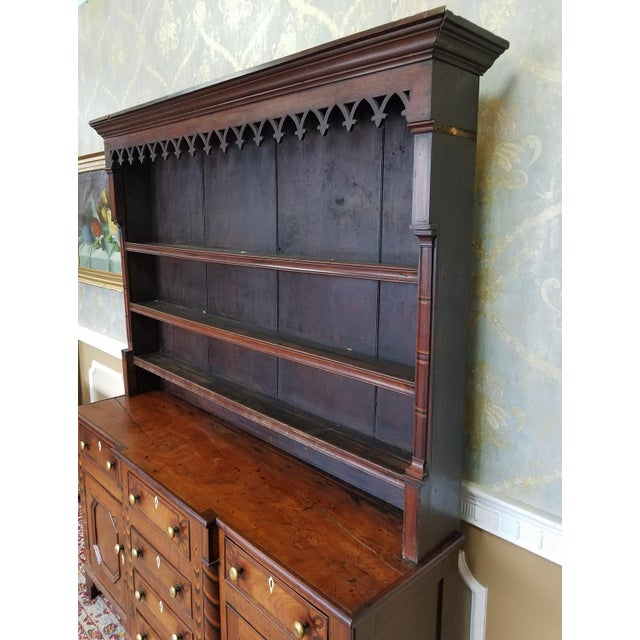 Brown 19th Century Antique Oak Inlaid Welsh/Jacobean Style Dining Room Hallway Cabinet Cupboard Hutch For Sale - Image 8 of 11
