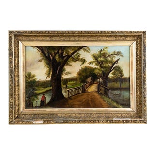 """Mid 19th Century """"Wooden Bridge Crossing"""" American School Style Oil Painting, Framed For Sale"""
