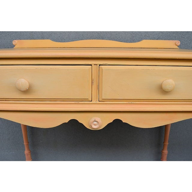 1910s Folk Art Yellow Painted Console Table With Decoupaged Drawers For Sale - Image 4 of 11