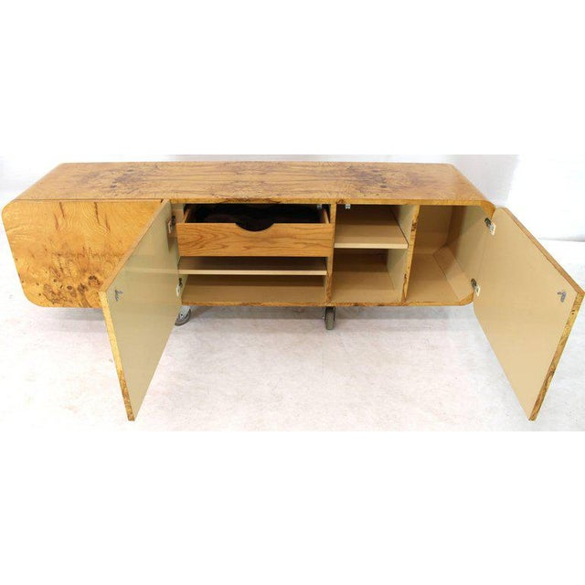Pace Collection Wall Mount Hanging Burl Wood Bar Shape Credenza Cabinet Double Door Compartment For Sale - Image 4 of 10