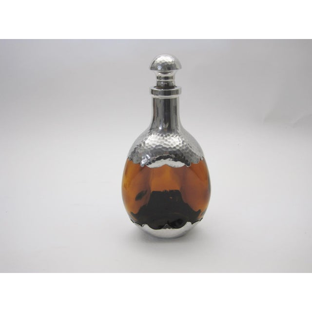 Amber Glass & Pewter European Pinch Bottle Decanter - Image 2 of 6