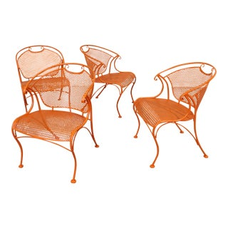 Mid-Century Modern Curvy Sculptura Iron Outdoor Patio Arm Dining Chairs - Set of 4 For Sale