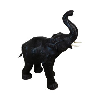 Vintage Hand Crafted Leather Elephant Statue For Sale
