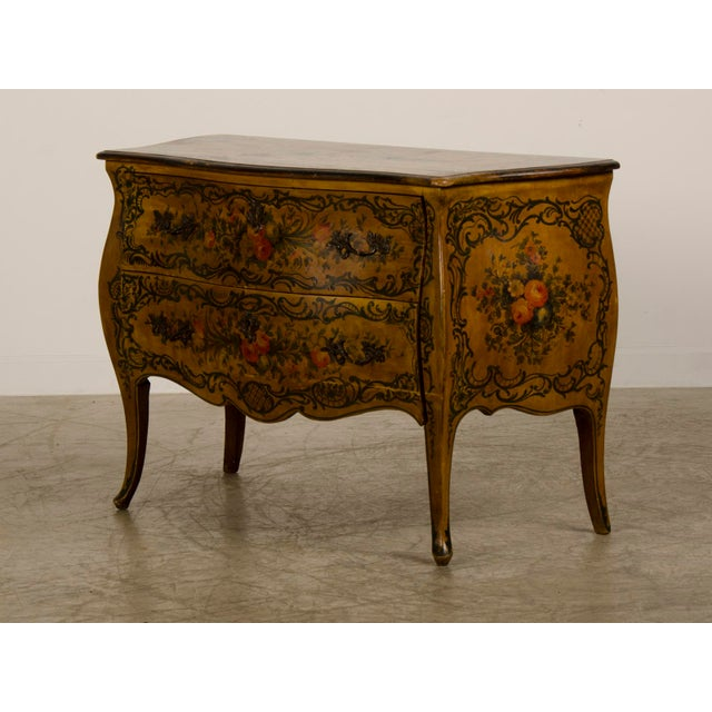 Italian Louis XV Rococo Style Antique Painted Bombè Chest circa 1885 For Sale - Image 4 of 10