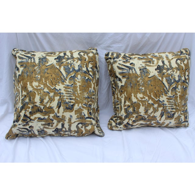 Contemporary Printed Linen Navy Blue and Bronze Down Pillows - a Pair For Sale - Image 11 of 12