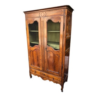 Antique 18th C French Country Fruitwood Mesh Front Bookcase For Sale