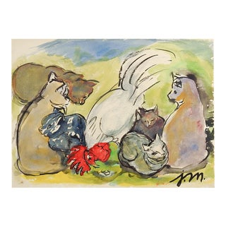 Cats & Rooster by Josephine Mahaffey Watercolor Painting For Sale