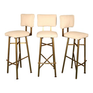 Mid-Century Brass Bar Stools - Set of 3 For Sale
