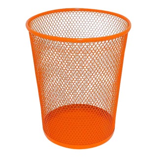Orange Wire Metal Waste Basket
