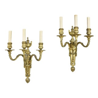 Louis XVI Style Gilt Bronze Wall Lights by E.F Caldwell & Co - a Pair For Sale