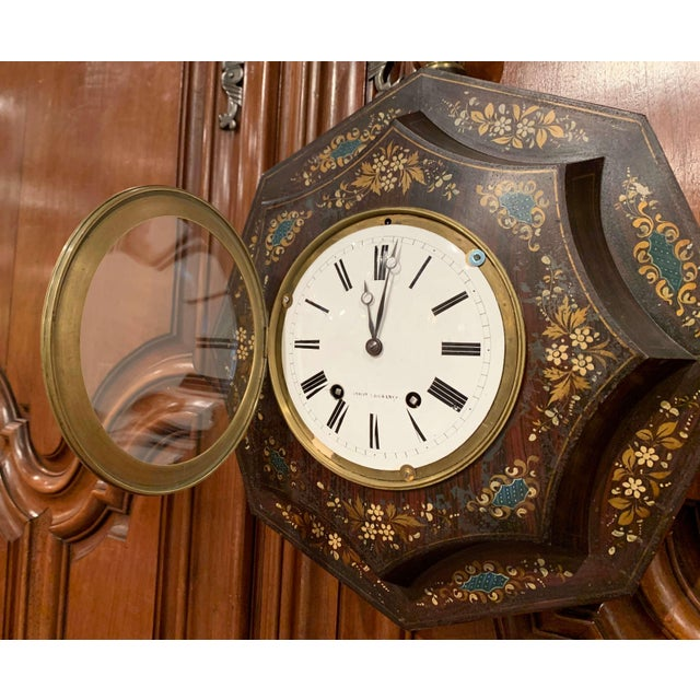 19th Century, French Napoleon III Black and Gilt Painted Tole Wall Clock For Sale In Dallas - Image 6 of 13