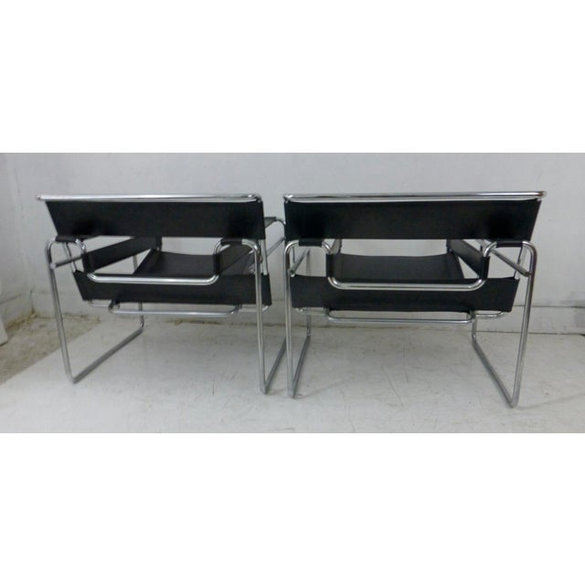 Marcel Breuer Black Leather Chrome Wassily Chairs - A Pair - Image 5 of 10
