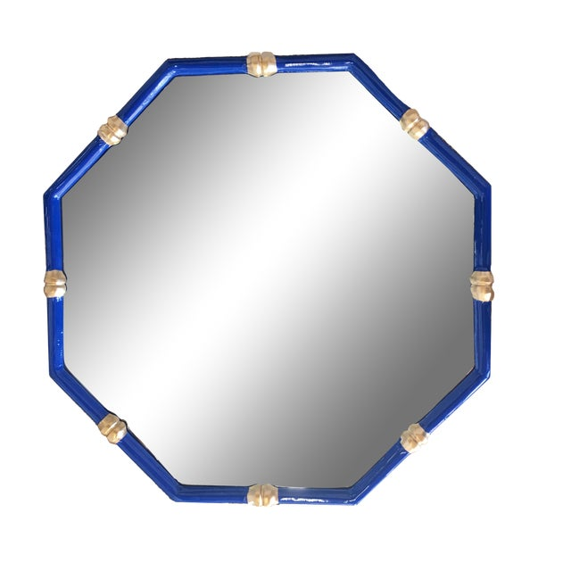 Dana Gibson Bamboo Mirror in Navy, Octo Style For Sale