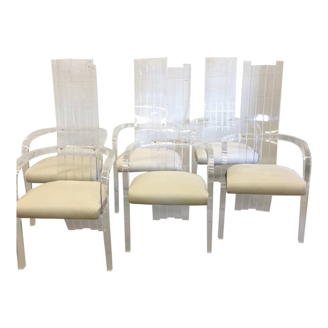 Lucite Tall Back Dining Chairs - Set of 6 For Sale - Image 12 of 12
