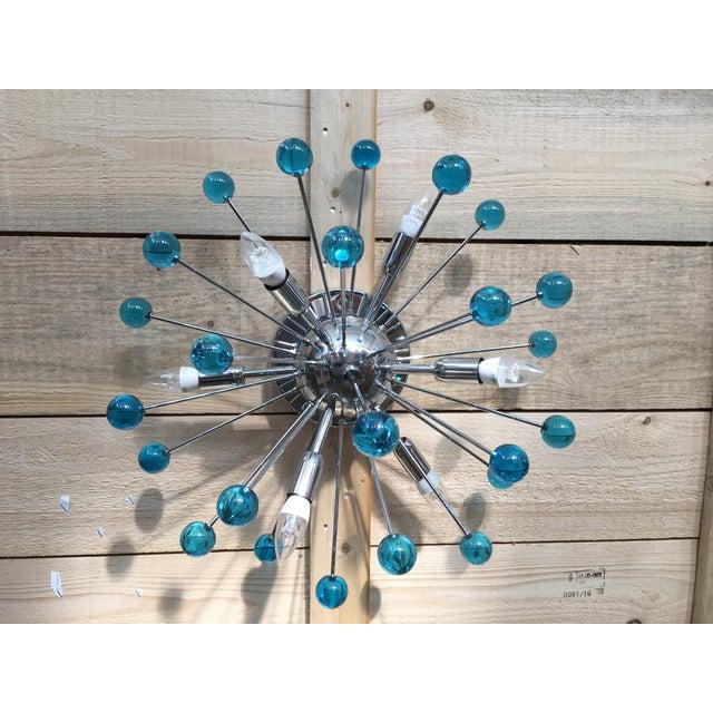 Aqua Blue Murano Glass Sputnik Flush Mount or Wall Sconce For Sale - Image 6 of 10