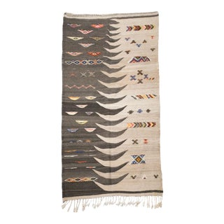 Natural Brown and Tan Moroccan Kilim Rug With Akhnif Details For Sale