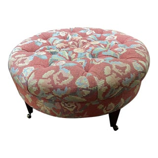 Floral Upholstered Tufted Ottoman For Sale