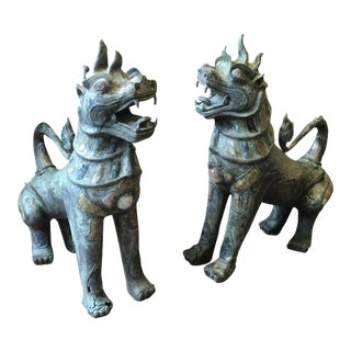 Pair of Antique Bronze Thai Foo Dogs With Amethyst and Rose Quartz From the Estate of Tony Duquette For Sale