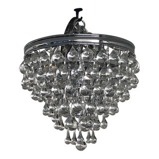 Contemporary Tiered Crystal Foyer Pendant For Sale