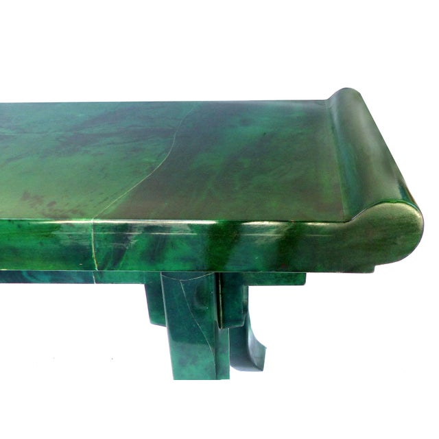 Asian Over-Scale Green Goatskin Stylized Altar Table Style Console Table For Sale - Image 3 of 9