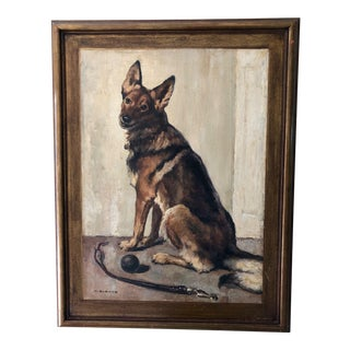Wilhelm Blanke Signed Portrait of a German Shepherd For Sale
