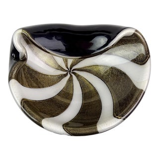 Alfredo Barbini Murano Black White Stripes Gold Flecks Italian Art Glass Bowl For Sale
