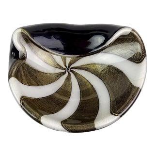 Alfredo Barbini Murano Vintage Black White Stripes Gold Flecks Italian Art Glass Mid Century Bowl For Sale