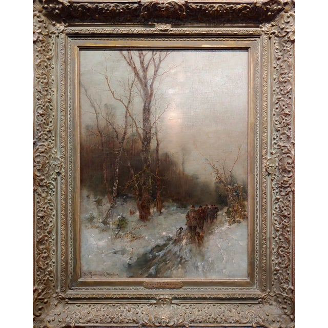 Desiree Thomassin -Hunters in a Winter Wooded Landscape -19th century Oil painting Oil painting on canvas -Signed -circa...