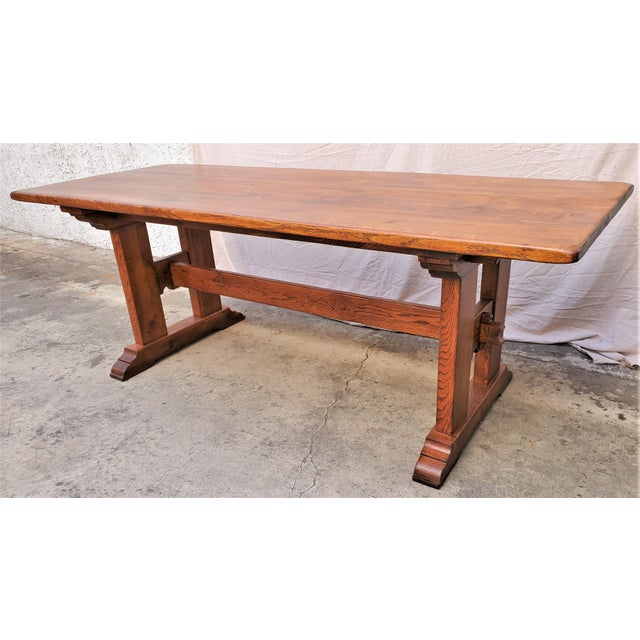 Late 20th Century Antique Plank Solid Oak Refectory Dining Table With Set of 6 Ladderback Chairs - 7 Pieces For Sale - Image 5 of 13