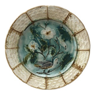 French Majolica Bird Plate Onnaing, Circa 1890 For Sale