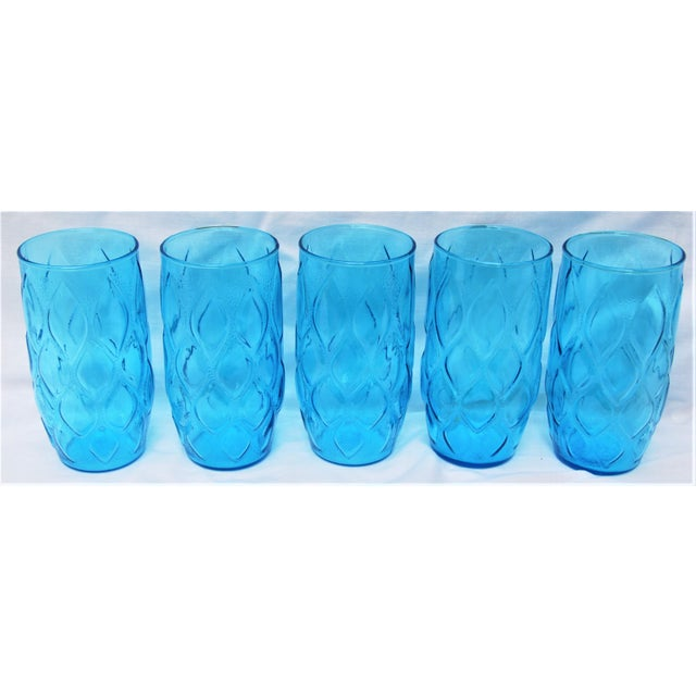 Mid-Century Sky Blue Glasses - Set of 5 For Sale In New Orleans - Image 6 of 6